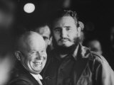 Nikita Khrushchev and Fidel Castro During their Meeting at the United Nations Assembly Session Premium Photographic Print