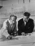 Architect Pietro Belluschi and Walter Gropius Looking over Some Blue Prints Photographic Print by Carl Mydans