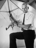 Inventor and NASA Scientist Francis M. Rogallo Holding Flexible Wing Used in Space Vehicle Recovery Premium Photographic Print by Alfred Eisenstaedt