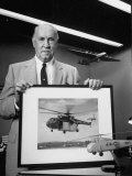 Portrait of Helicopter Designer Igor Sikorsky, with Photo and Model of His Invention Premium Photographic Print by Alfred Eisenstaedt