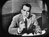 Vice Presidential Candidate Richard M. Nixon Making a Speech on Tv Premium Photographic Print by Yale Joel