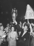 Dean Beman Us Player Who Won British Amateur Title Waving Trophy over His Wife Head at Airport Premium Photographic Print by Ed Clark