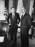 Head of 'Food for Peace' Program George S. Mcgovern with Pres. John F. Kennedy at White House Premium Photographic Print
