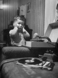 Deaf-Blind Father Harold Hathaway's Son Listening to a Phonograph Premium Photographic Print