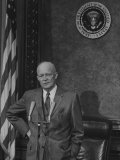 President Dwight D. Eisenhower Speaking at a Press Conference Premium Photographic Print