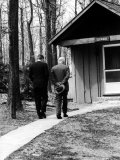 Pres. John F. Kennedy and Dwight D. Eisenhower at Camp David Discussing Cuba Photographic Print