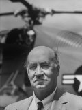 Portrait of Airplane Manufacturer Igor Sikorsky Standing in Front of Helicopter Premium Photographic Print by Alfred Eisenstaedt