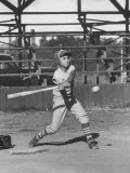 Young Boy Batting in Little League During Game Premium Photographic Print