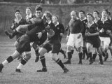 American Rhodes Scholar Peter Dawkins Playing Rugby with Oxford Univ. Students Reproduction photographique