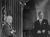 President, Dwight D. Eisenhower, and Robert Montgomery Waiting for Signal to Go on TV for Speech Premium Photographic Print