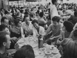 Crowded Outdoor Cafe in Rapallo, People Seated around Small Tables, Waiter Passing Through Premium Photographic Print