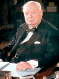 British Politican Sir Winston Churchill, Formal Portrait at Desk Photographic Print by Carl Mydans