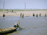 "Sweep Net Fishing for Sturgeon at ""Tanya"" in Volga River Delta Nr. Astrakhan, Russia, Photographic Print"