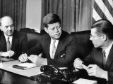 Pres. John F. Kennedy with Dean Rusk and Robert S. Mcnamara Photographic Print