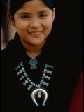 Navajo Child Modeling Turquoise Squash Blossom Necklace Made by Native Americans Premium Photographic Print