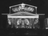 Bolshoi Theater Displaying Portraits of Soviet Heroes Premium Photographic Print by Ed Clark