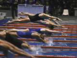 Swimmers Diving to Start a Race at Summer Olympics Premium Photographic Print