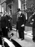 Great Britain's Prime Minister Winston Churchill Leaving His Home Premium Photographic Print by Carl Mydans