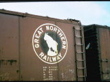 Railroad Box Car W. the Logo of the Great Northern Railway Premium Photographic Print