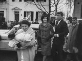 President Elect John F. Kennedy and Wife Arriving Home from Hospital with Newborn Son Premium Photographic Print by Ed Clark