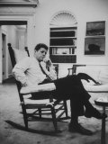 Pres. John F. Kennedy Sitting in Rocking Chair Premium Photographic Print