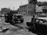 During Race Riots in Detroit, National Guard Patroling Devastated Neighborhood Photographic Print