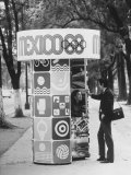 Information Booth for Olympic Games in Mexico City 1968 Premium Photographic Print by John Dominis