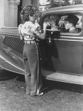 Carhop Waiting on Customer at Drive-In Restaurant Premium Photographic Print by Alfred Eisenstaedt