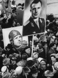 Crowd with Posters of Cosmonaut Yuri Gagarin, First Human to Travel in Space Premium Photographic Print