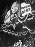 Pres. Harry S. Truman, Speaking During the Presidential Campaign Trip Premium Photographic Print by Peter Stackpole