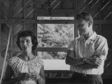 Billy Graham and His Wife Admiring their New House, Which Is under Construction Premium Photographic Print by Ed Clark
