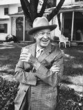 Former President Dwight D. Eisenhower Relaxing at His Gettysburg Home Premium Photographic Print by Ed Clark