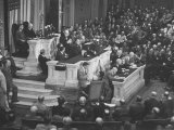 English Prime Minister Winston Churchill Adressesing the Us Congress Premium Photographic Print by Myron Davis