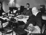 Sir Winston Churchill, Sitting Behind Desk at Chartwell Photographic Print