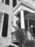 President Harry S. Truman Waving to Crowd from Blair House Entrance Premium Photographic Print