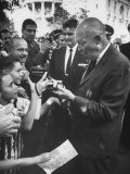 President Dwight D. Eisenhower Talking to Spectators, at White House Premium Photographic Print