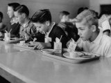 Boys Eating in the School Cafeteria Photographic Print by Ed Clark