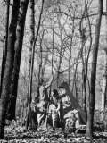 Dr. Liane Russell Camping with Husband Bill and Children in Woods Near their Home Premium Photographic Print by Margaret Bourke-White