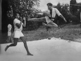 Prince Juan Carlos of Spain Doing Karate Exercises with King Constantine Ii of Greece Premium Photographic Print