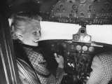 Candidate Jackie Cochran Flying Her Private Plane During Her Campaign Tour Premium Photographic Print by Loomis Dean