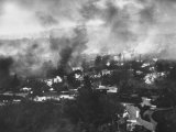 Scene of Fire Ranges in Bel-Air Section of Los Angeles Premium Photographic Print by J. R. Eyerman