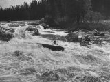 Canadian Woodsman Robert Rock, Falling Out of the Canoe as He Tries a Set Rapids Premium Photographic Print