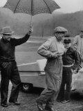 Dwight D. Eisenhower and Golf Pro Sam Snead Playing Golf in the Rain Premium Photographic Print by Ed Clark