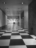 Main Lobby of the Un Building Made of Black and White Marble Chips Premium Photographic Print by Andreas Feininger
