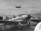 US Navy Bombers Sitting on Deck of Aircraft Carrier Premium Photographic Print