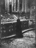 Woman Grieving over Wreckage of Catholic Church Burned During Uprising Against Peron Premium Photographic Print