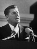 Governor Ronald W. Reagan Making Inaugural Speech after Swearing in Ceremony at Capitol Premium Photographic Print
