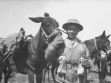 Gurkha Member of the 4th Indian Division of the British 8th Army Petting a Pack Mule Premium Photographic Print