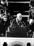 Poet Robert Frost Reading a Poem at the Inauguration Ceremony for President John F. Kennedy Premium Photographic Print