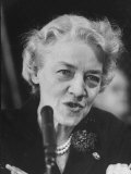 Sen. Margaret Chase Smith Talking into Mike During Sen. Lyndon Johnson's Hearings in the Senate Photographic Print